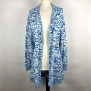 Chicos Blue White Crochet Back Space Dyed Cardigan